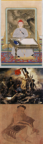 Three panel vertical image of paintings from different cultures.