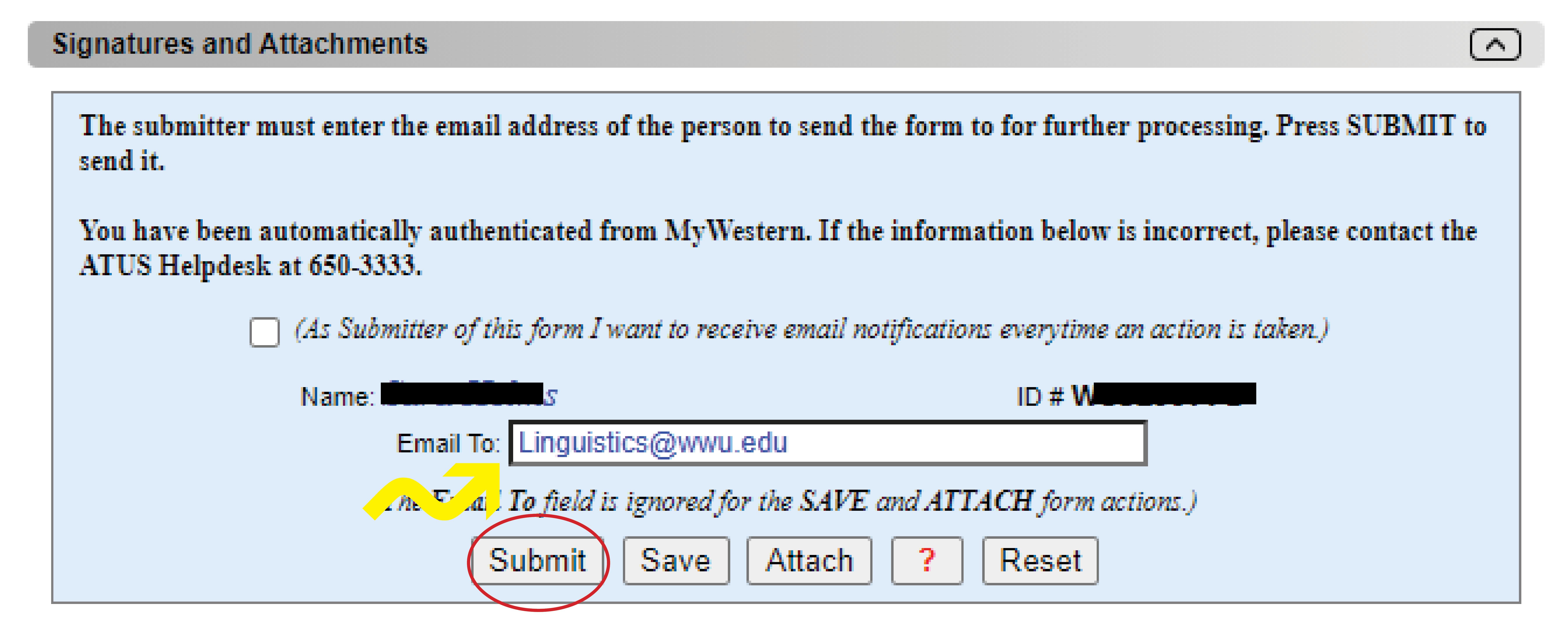 Screenshot of webform with email field set to linguistics@wwu.edu