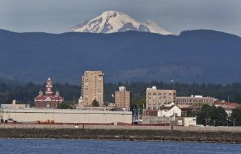 Mount Baker on the horizon over the city of Bellingham