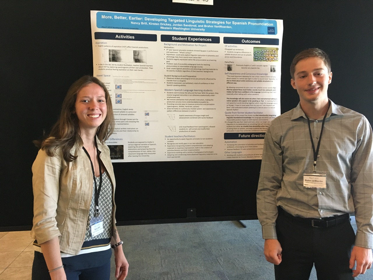 Brill and vanWoerden pose with their research poster at the 2019 Pronunciation in Second Language Learning and Teaching Conference
