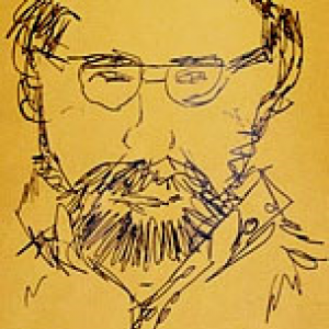 A line drawing of a man wearing glasses and a beard.