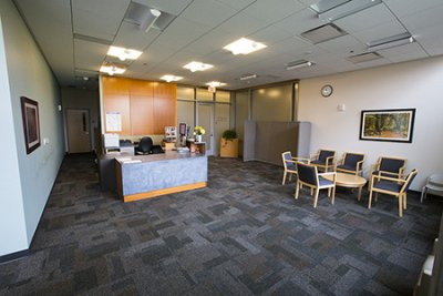 A warmly lit, welcoming reception area
