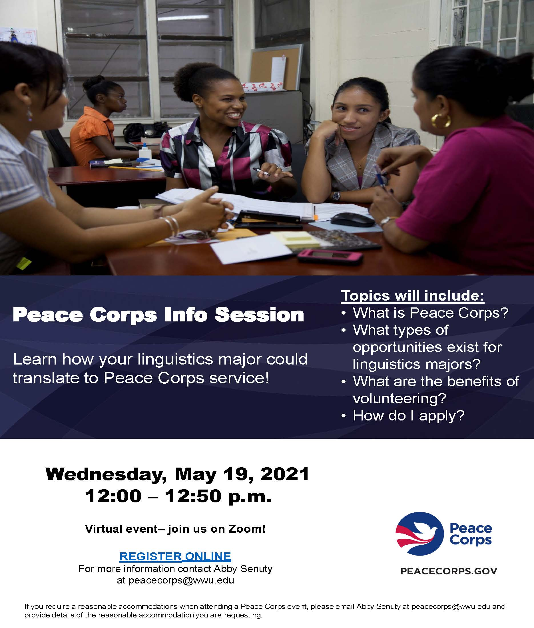 Poster for Peace Corps Info Session